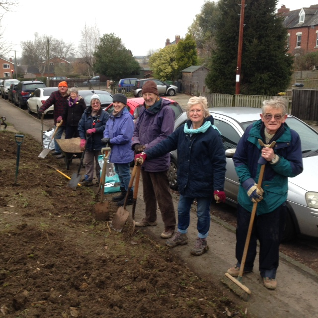The Stonehouse Gardening Club team prepares the winter wildlife garden by the railway station to support Stonehouse in Bloom